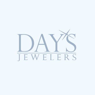 Blue Zircon Diamond Halo Necklace in 14kt White Gold (1/10ct tw)