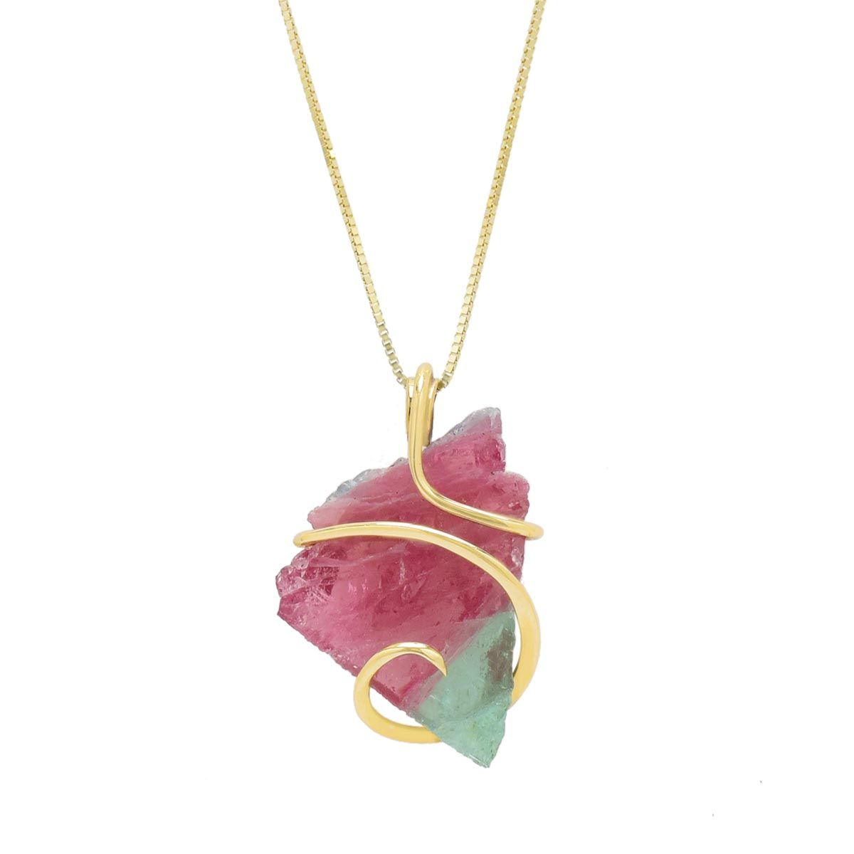 Maine Bicolor Tourmaline Necklace in 14kt Yellow Gold