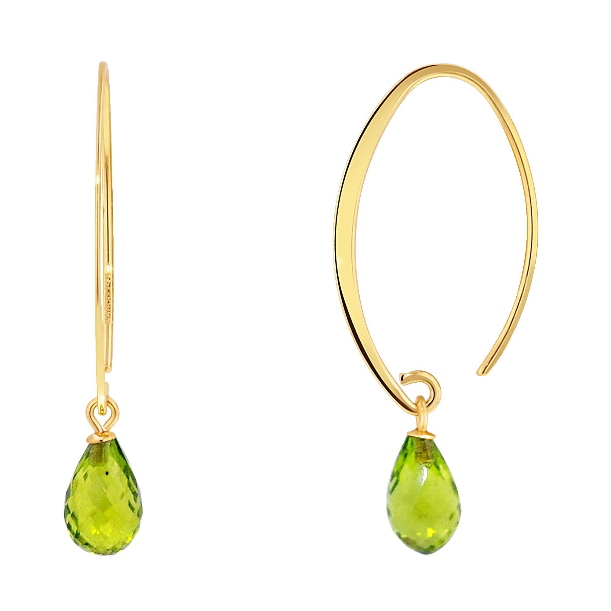 Nancy B Simple Sweep Peridot Dangle Earrings in 14kt Yellow Gold