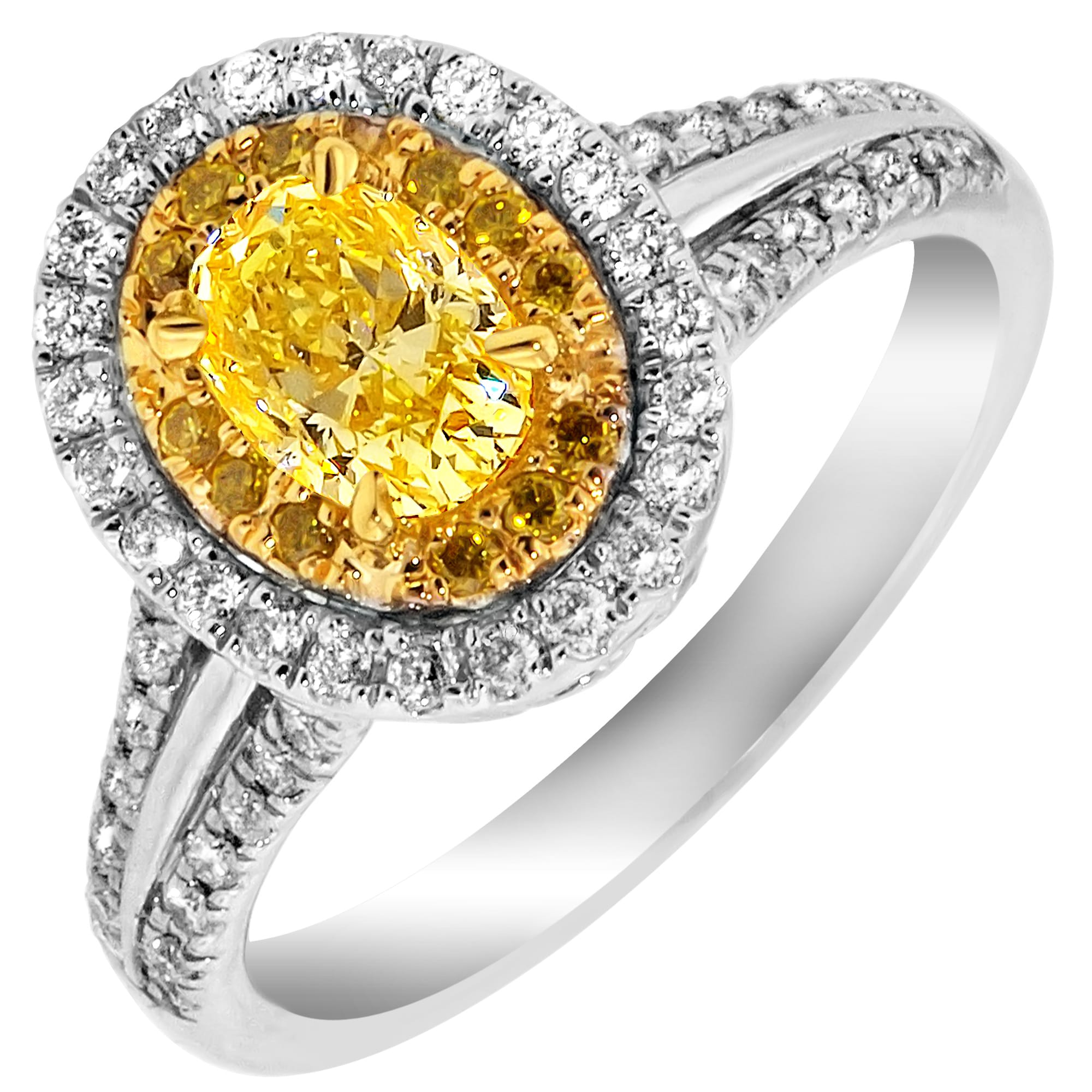 Couture Oval Natural Fancy Intense Yellow Diamond Ring in 18kt White Gold