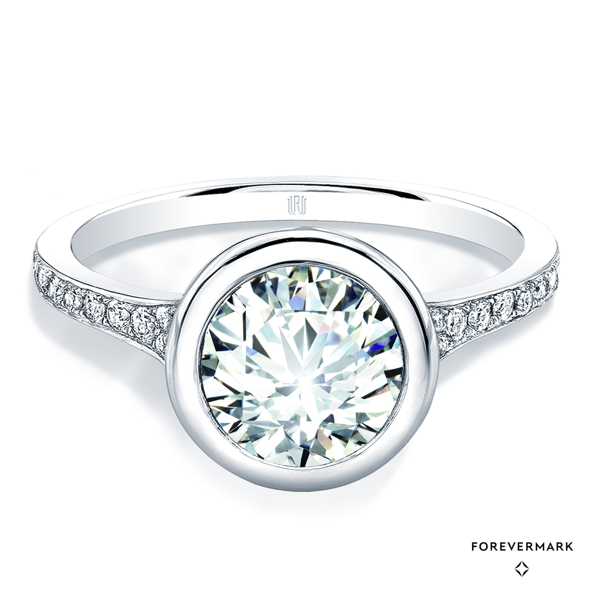 Forevermark Diamond Engagement Ring in 18kt White Gold with Side Stones