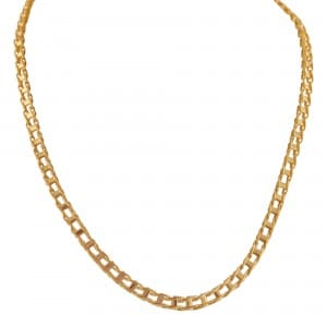 Mens Railroad Link Necklace in 14kt Yellow Gold $1,395