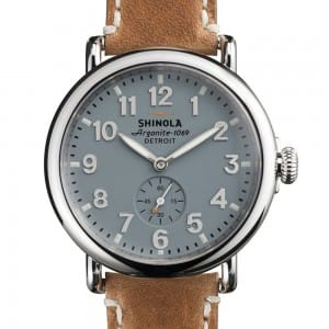 Shinola Mens Watch with Blue Dial and Brown Leather Strap
