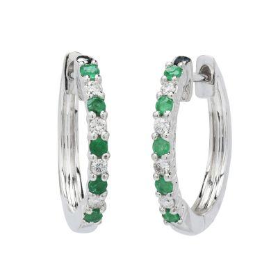 emerald hoops with diamonds