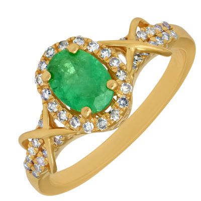 emerald ring with diamonds and yellow gold